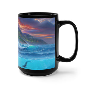 Honu Adventure with Dolphins, By Robert Thomas, Black Mug 15oz
