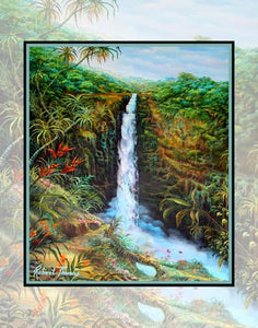 Akaka Falls, Hawaiian Water Falls, Hawaii Art By Robert Thomas 8x10 and 11x14 Print on canvas