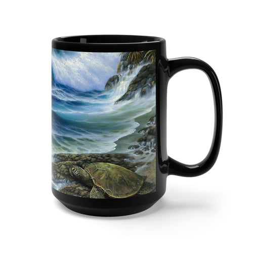 Hamakua Turtle, By Robert Thomas, Black Mug 15oz