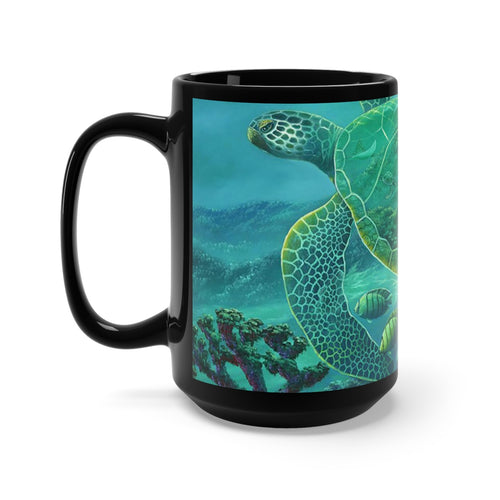 Glass Turtle, By Robert Thomas, Black Mug 15oz