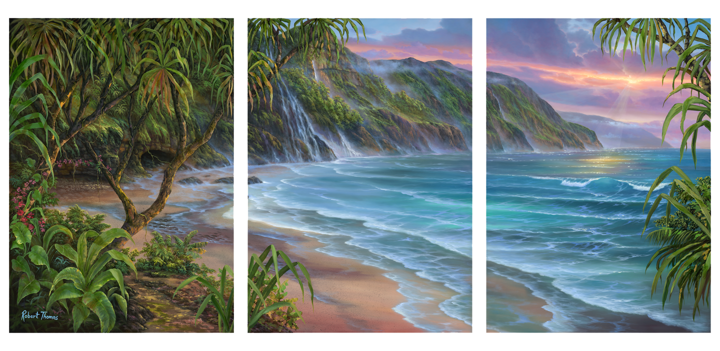 Hanakapiai Na Pali Coast Triptych -By Robert Thomas