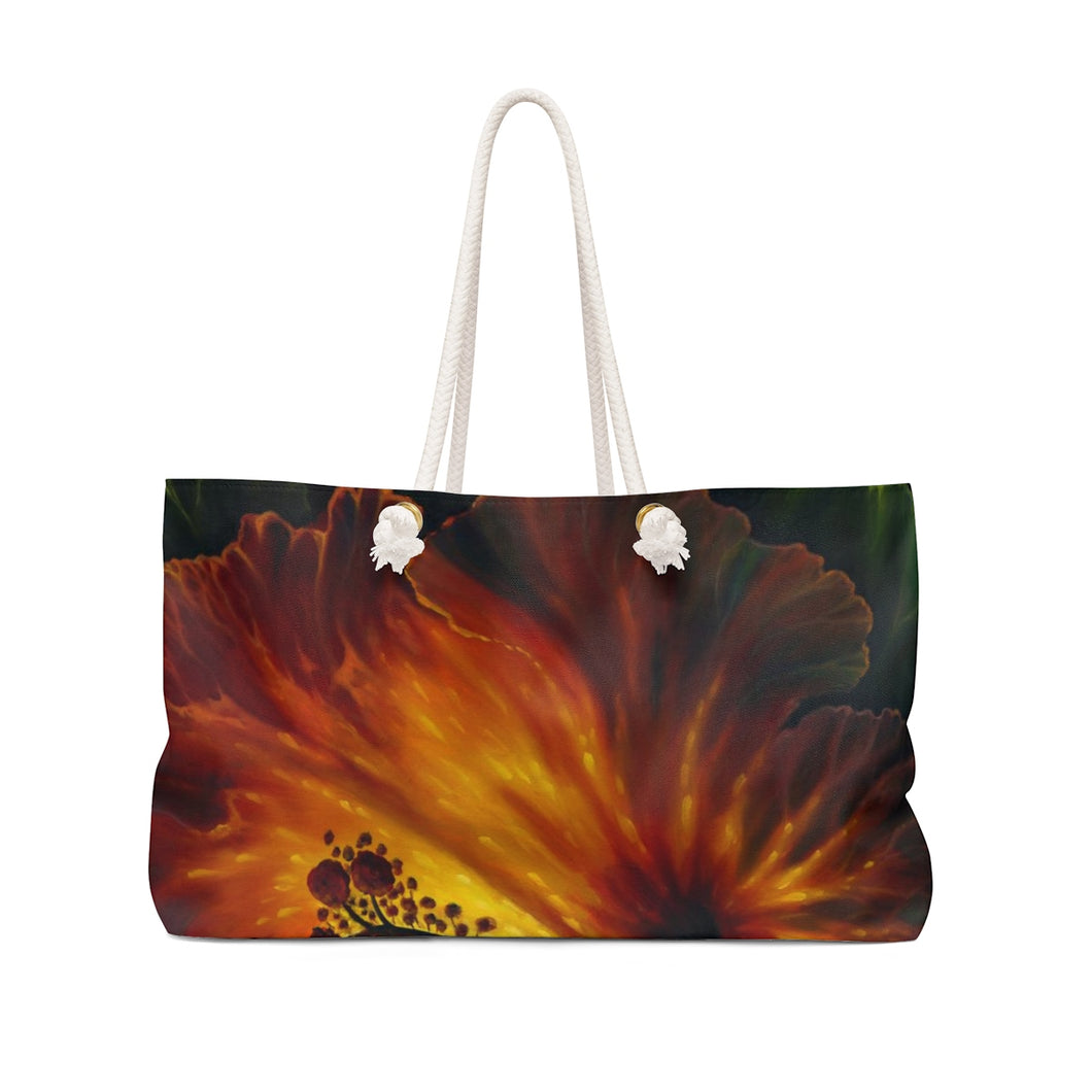 Yellow and Red Hibiscus Weekender Bag By Robert Thomas