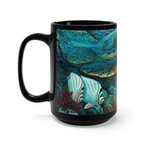 Large Green Sea Turtle, By Robert Thomas, Black Mug 15oz