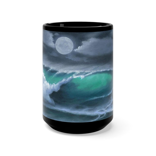 Soft Moon Night, By Robert Thomas, Black Mug 15oz