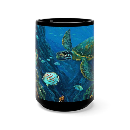 Honu Adventure, By Robert Thomas, Black Mug 15oz