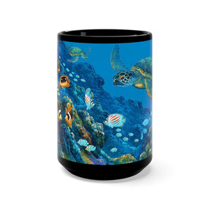 Turtle Cove, By Robert Thomas, Black Mug 15oz