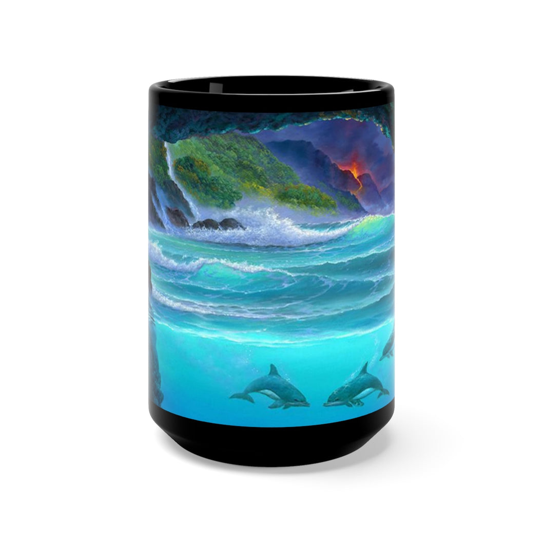 Over and Under Lava, By Robert Thomas, Black Mug 15oz