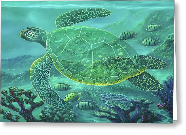 Glass Turtle - Greeting Card