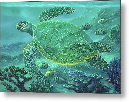 Glass Turtle - Metal Print