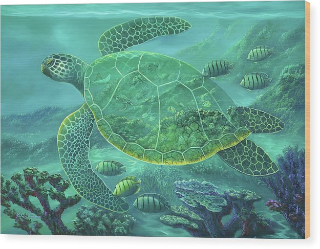 Glass Turtle - Wood Print