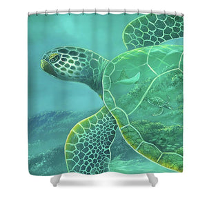 Glass Turtle - Shower Curtain