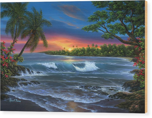 Hawaiian Sunset In Kona - Wood Print