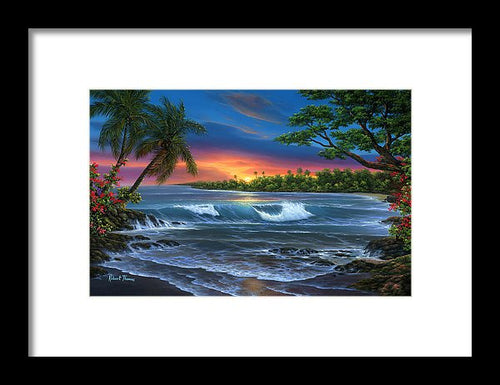Hawaiian Sunset In Kona - Framed Print