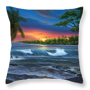 Hawaiian Sunset In Kona - Throw Pillow