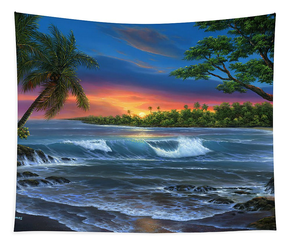 Hawaiian Sunset In Kona - Tapestry