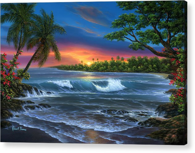 Hawaiian Sunset In Kona - Acrylic Print