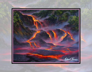 Aloha Lava Flow, Kilauea Volcano, Hawaii Art By Robert Thomas 8x10 and 11x14 Print on Canvas
