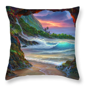 Kauai Seacave - Throw Pillow