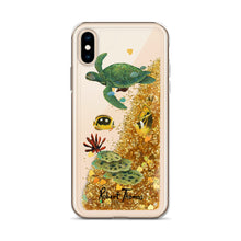 Load image into Gallery viewer, Honu Underwater Liquid Glitter Phone Case By Robert Thomas