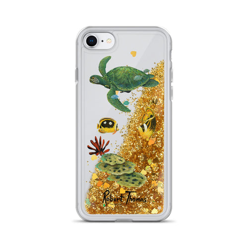 Honu Underwater Liquid Glitter Phone Case By Robert Thomas