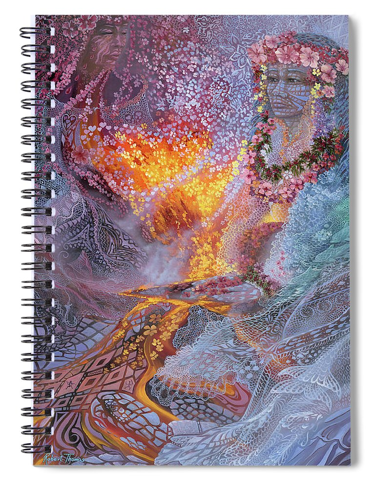 Sisterly Love With Goddess Pele And Namakaokahai - Spiral Notebook