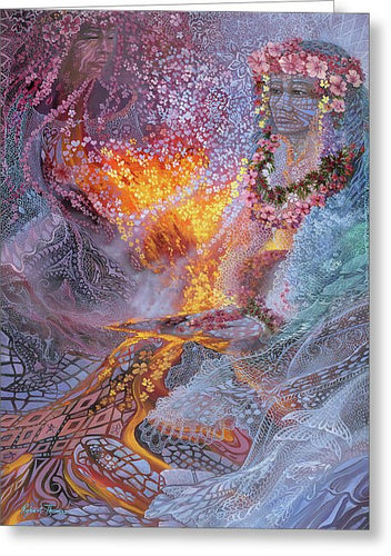 Sisterly Love With Goddess Pele And Namakaokahai - Greeting Card