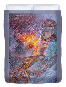 Sisterly Love With Goddess Pele And Namakaokahai - Duvet Cover