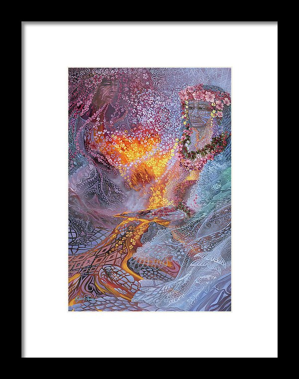 Sisterly Love With Goddess Pele And Namakaokahai - Framed Print