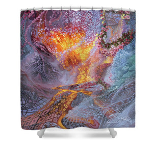 Sisterly Love With Goddess Pele And Namakaokahai - Shower Curtain