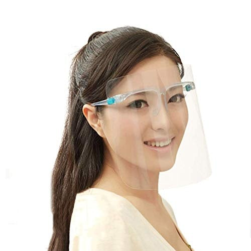 Reusable Face Shield Wearing Glasses