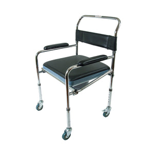 Commode Chair with Wheels (Black)