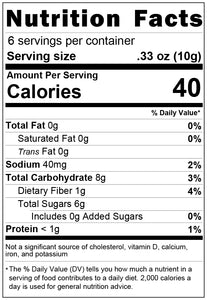 freeze dried peaches 2oz nutrition facts