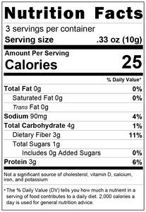 freeze dried spinach 1oz nutrition facts