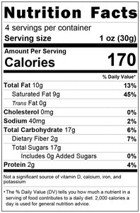 white chocolate 1oz nutrition facts