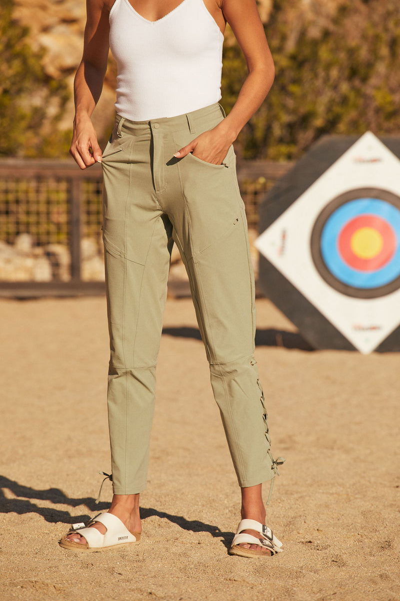 High waisted trail pant in faded army green |Faded Army Green