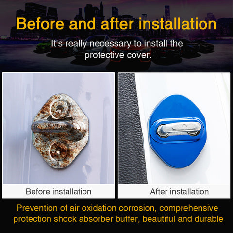Stainless Car Steel Door lock Protective Cover Case Striker For Mitsubishi Decor