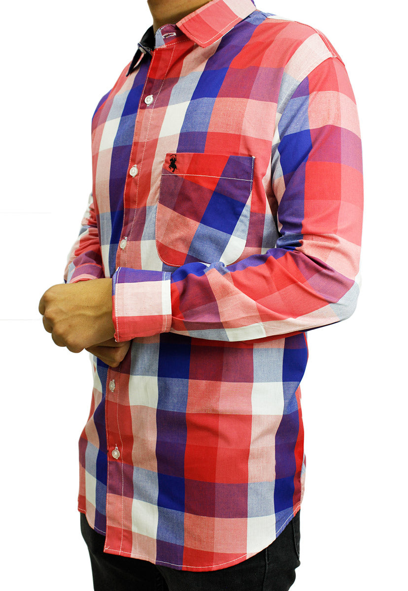 Camisa Casual Color Rojo/Azul CAMPOLO71 - New Forest Polo Club