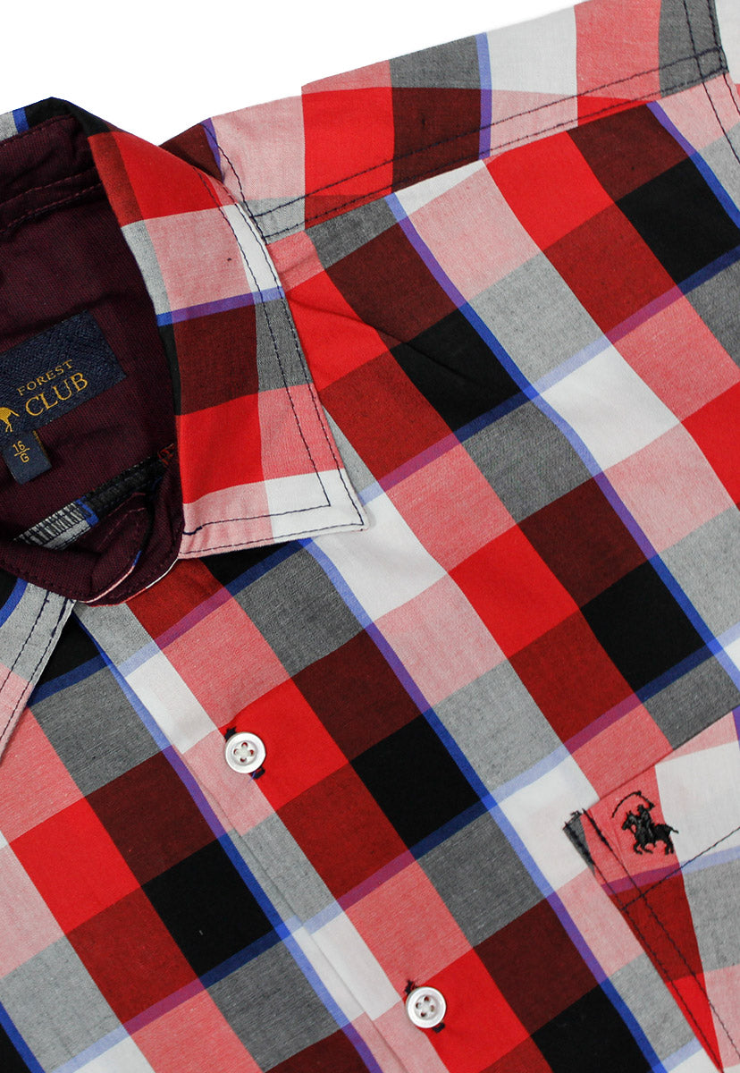 Camisa Casual Color Negro/Rojo CAMPOLO86 - New Forest Polo Club