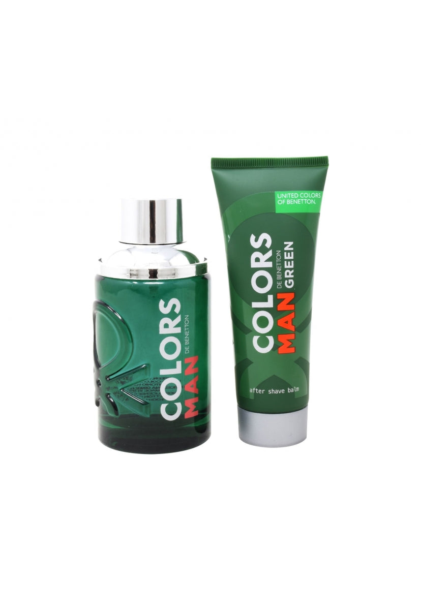Z4 Set Benetton Colors Green Man 2Pzs 100Ml Edt Spray/ After Shave 75Ml - Benetton