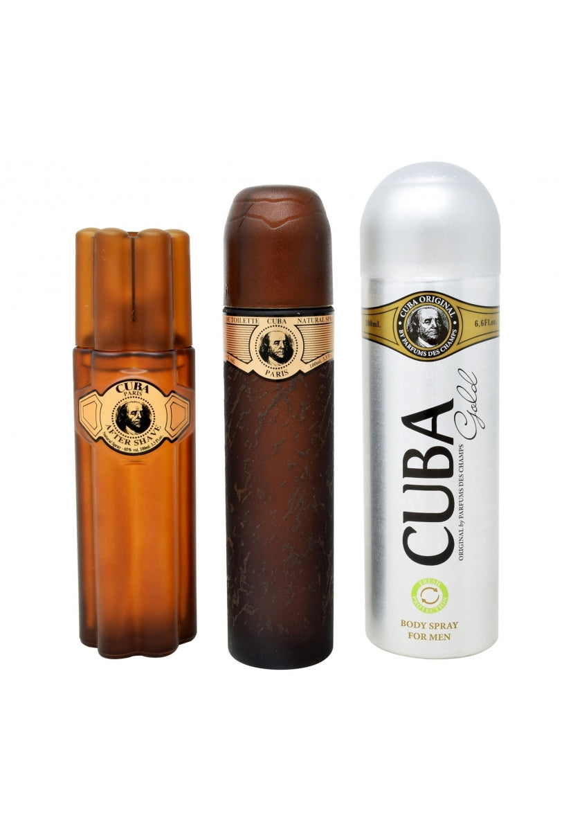 Z4 Set Cuba Gold 3Pzs 100Ml Edt Spray/ Desodorante 200Ml Spray/ After Shave 100Ml - Cuba
