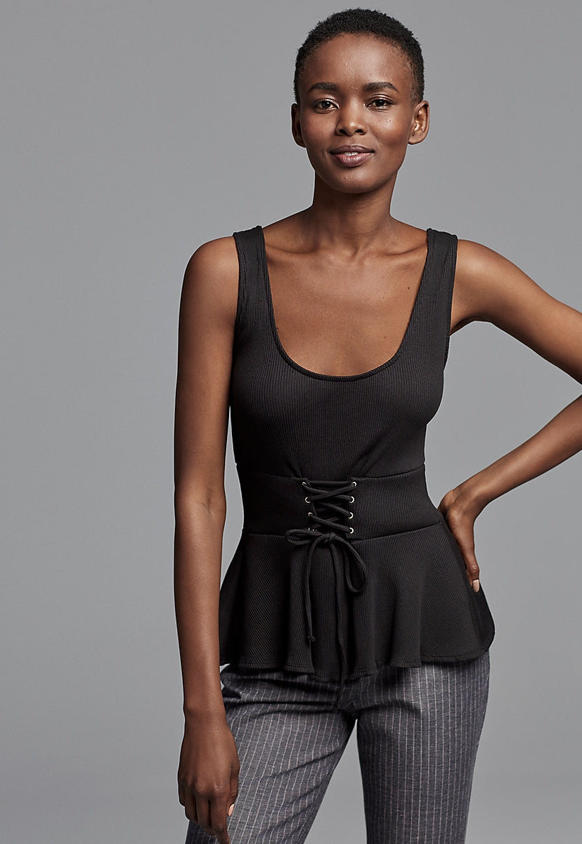 Express One Eleven Ribbed Peplum Corset Tank