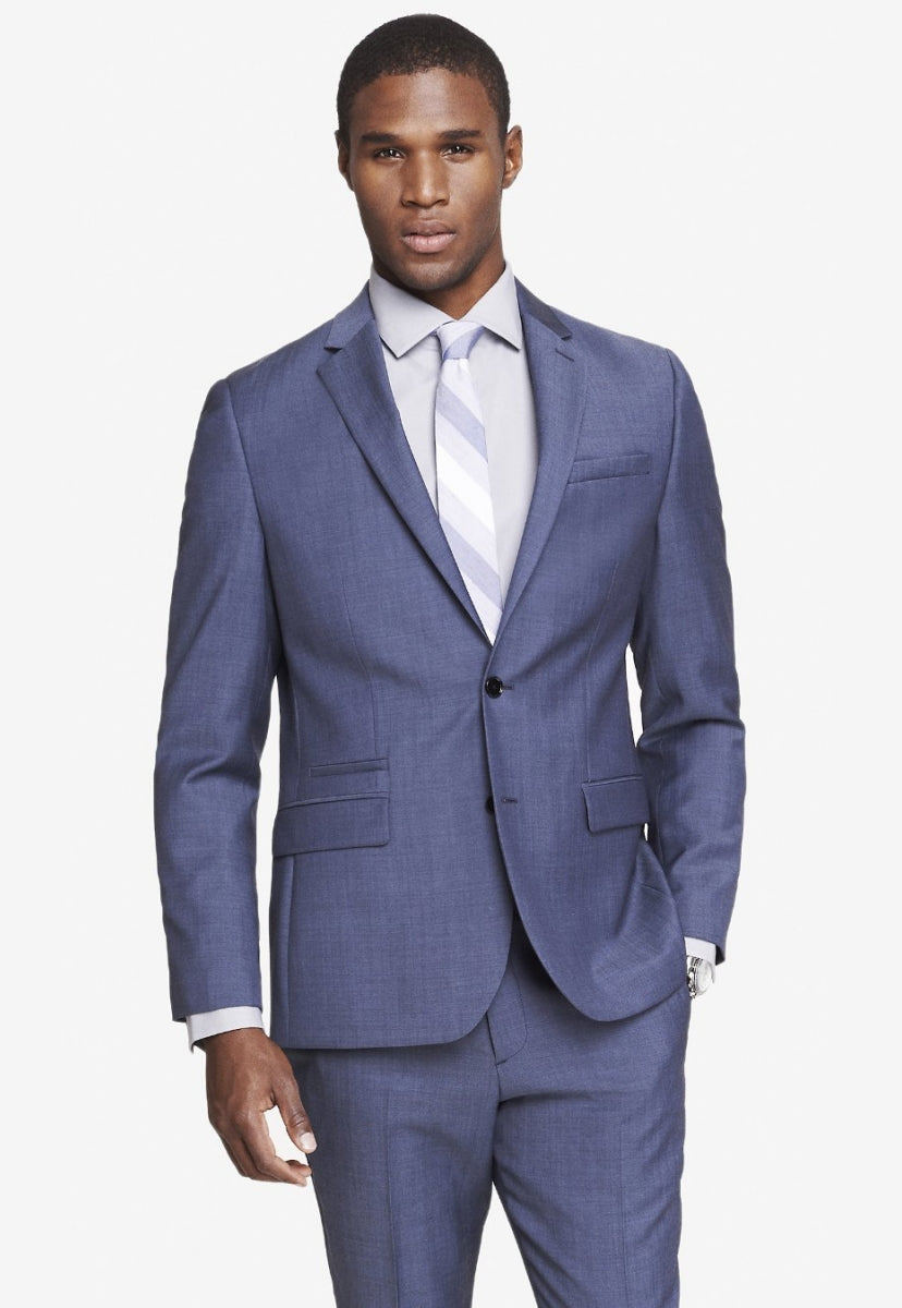 slim blue wool twill suit jacket - Express