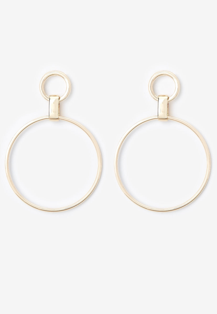 Double Circle Link Drop Earrings - Express