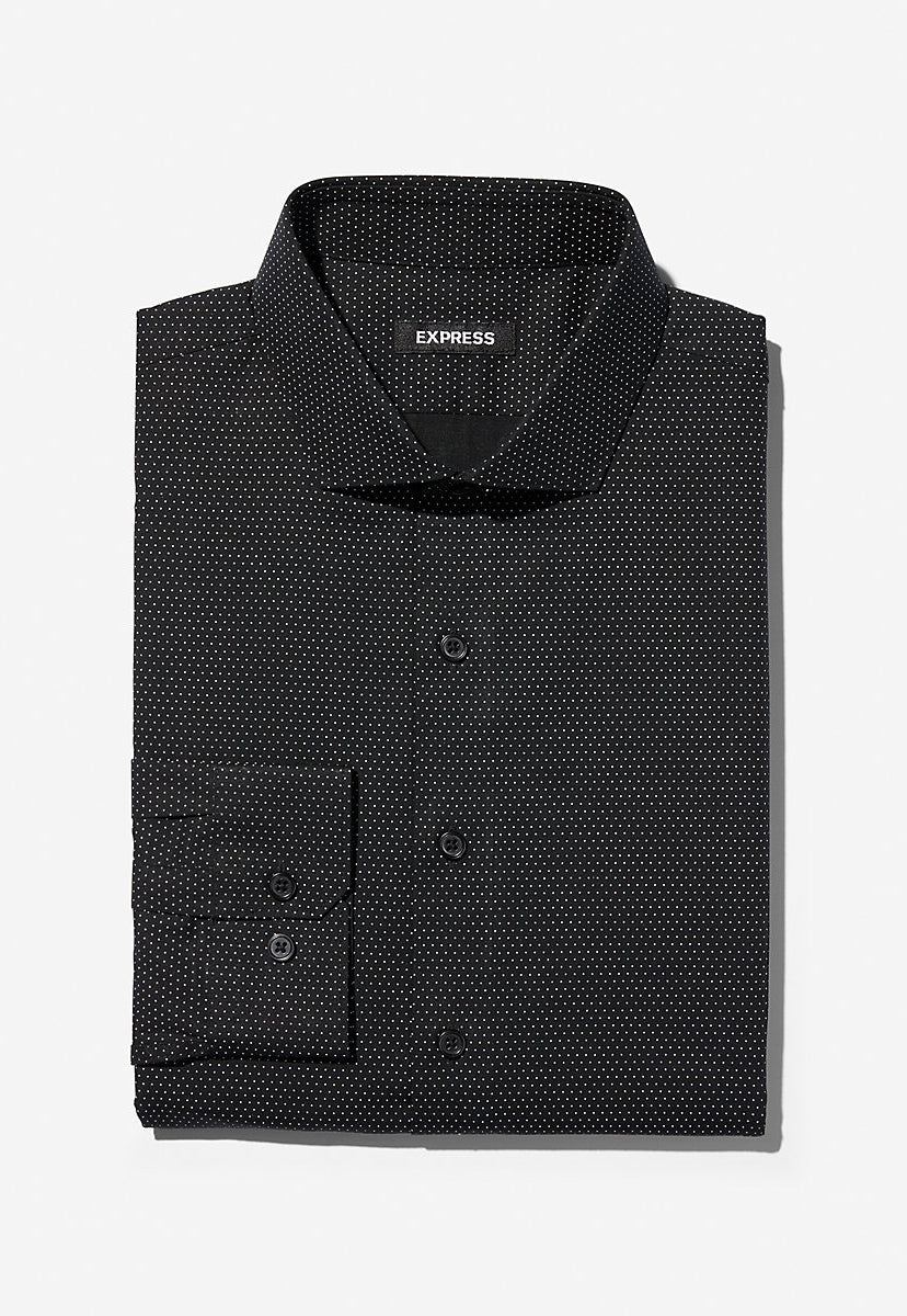 slim micro dot dress shirt - Express