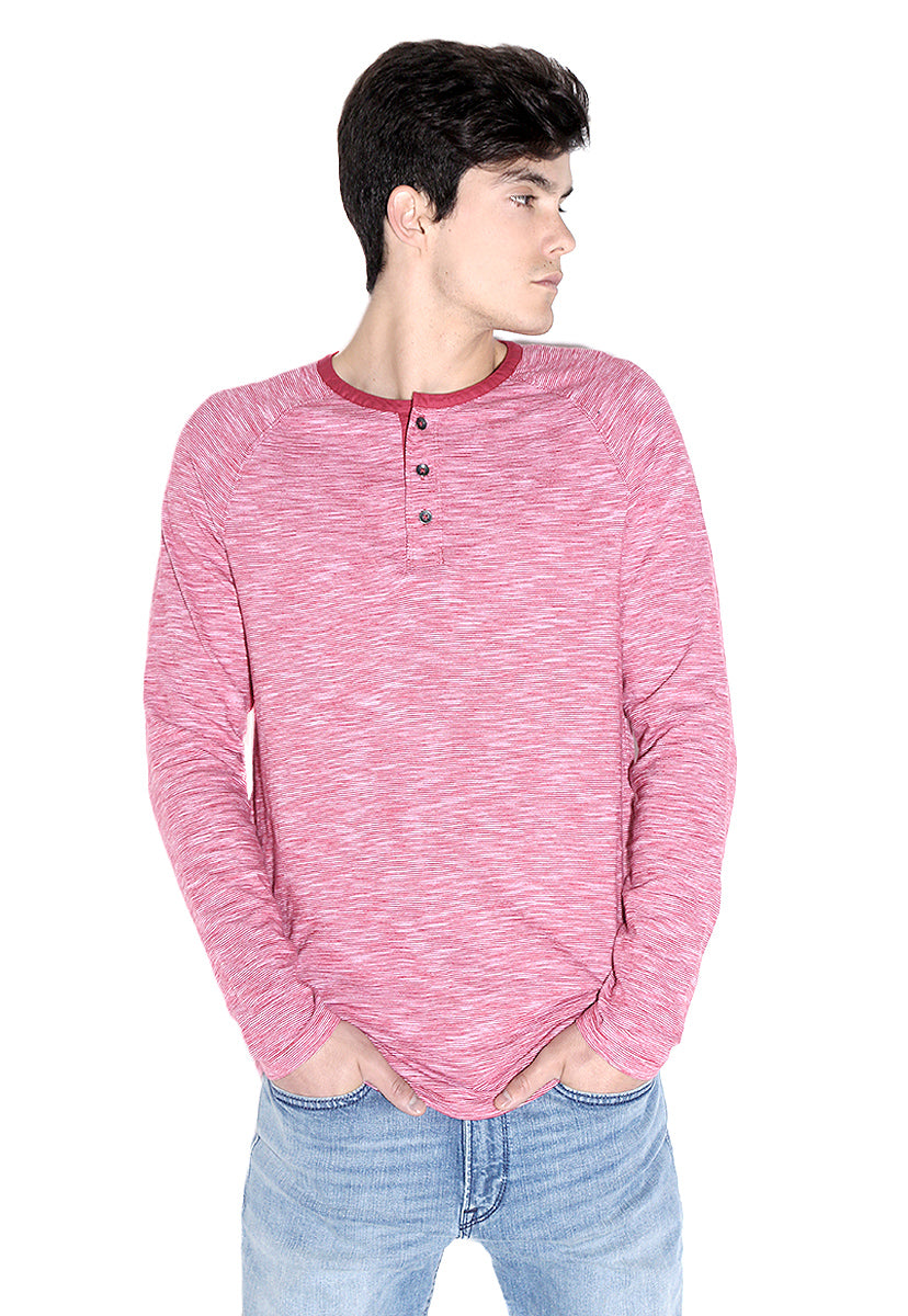 Striped Long Sleeve Henley - Express