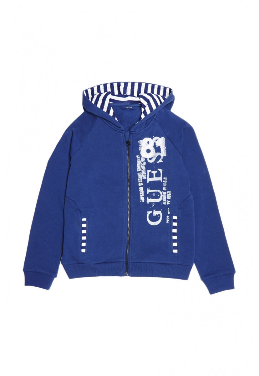 Hooded Ls Fleece W/Zip - Guess