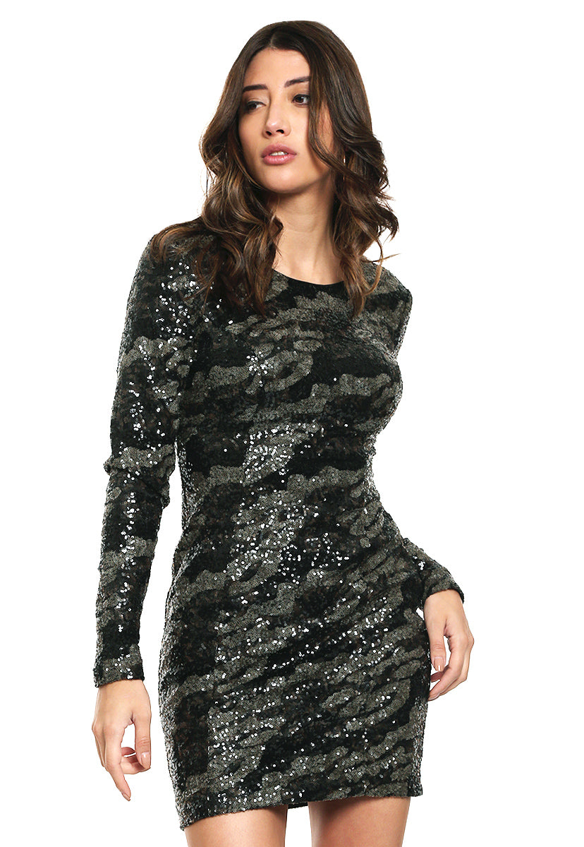 Vestido Ls Klara Sequin Dress - Guess