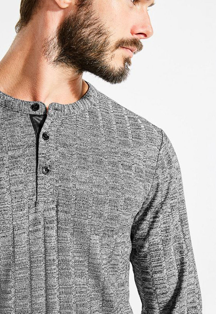 Ls Atlantic Rib Henley - Guess