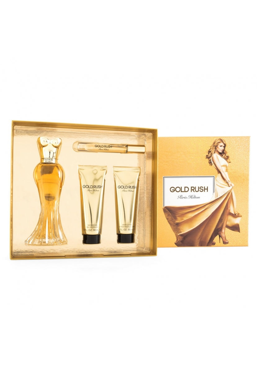 Z4 Set Gold Rush 4Pzs 100Ml Edp Spray / Rollerball Edp 6Ml / Body Lotion 90Ml/ Shower Gel - Paris Hilton