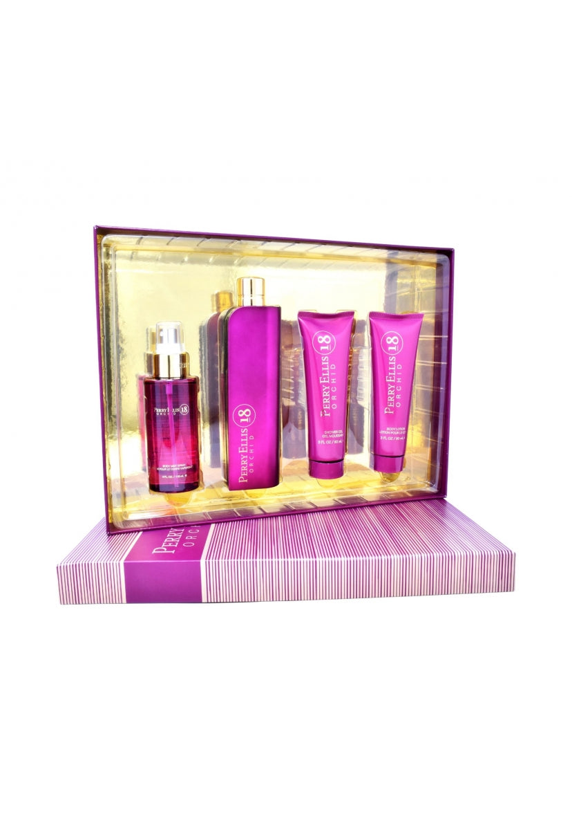 Z4 Set Perry Ellis 18 Orchid 4Pzs 100Ml Edp Spray/ Body Lotion 90Ml/ Shower Gel 90Ml/ Body Mist 118Ml Spray - Perry Ellis